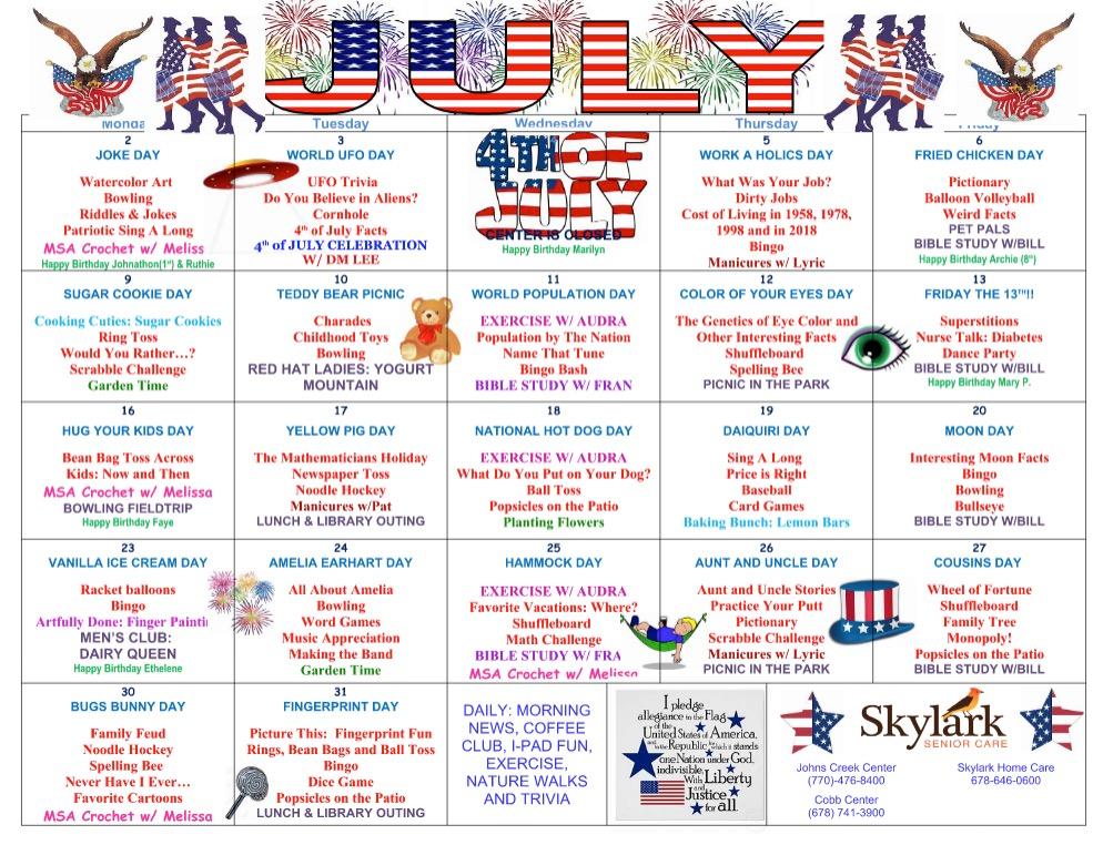 July Sample Activity Calendar