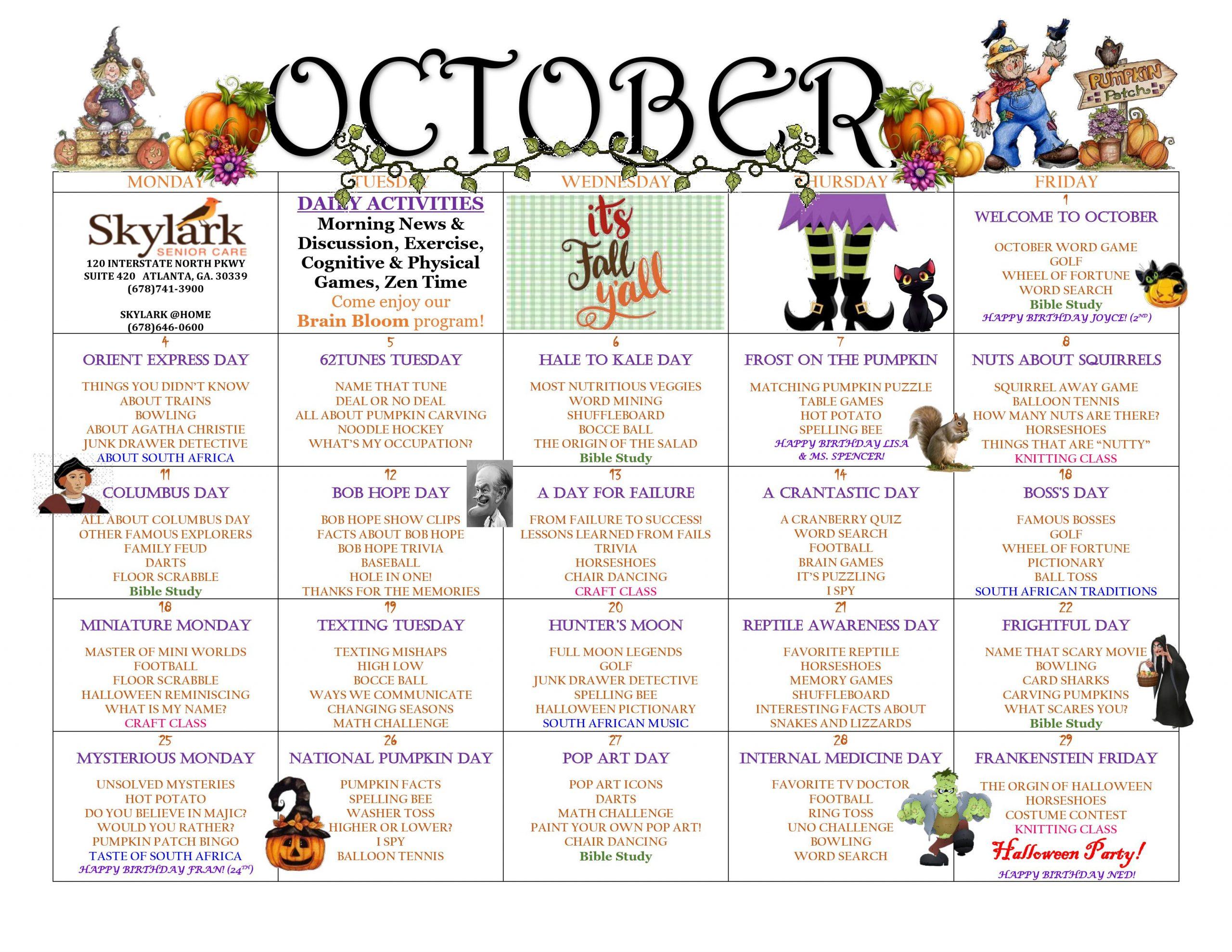 Skylark Example Calendar